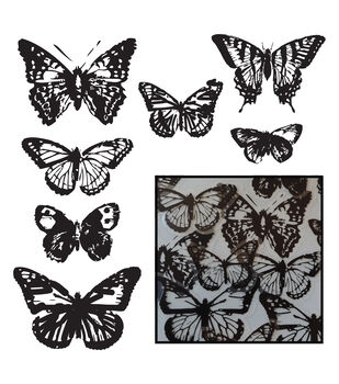 Transparencies Die-Cuts 14/Pkg-Vintage Butterflies - Black
