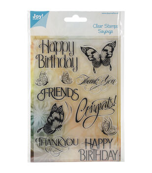 Joy! Crafts Assorted Text With Butterflies Clear Stamps