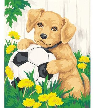 Paint By Number Kit 8''X10''-Puppy & Soccer Ball