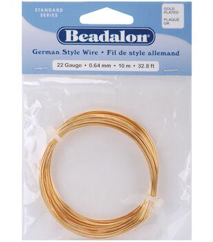 Beadalon German Style Round Wire 22 Gauge 32.8 Feet/Pkg-Gold