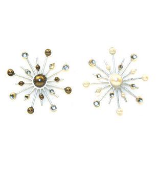 Karen Foster Sparkle Burst Brads-6PK/Pearls