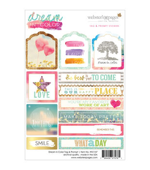 Webster's Pages Dream In Color Tags & Prompts Stickers 4''x6''