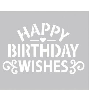 FabScraps Happy Birthday Wishes Plastic Stencil