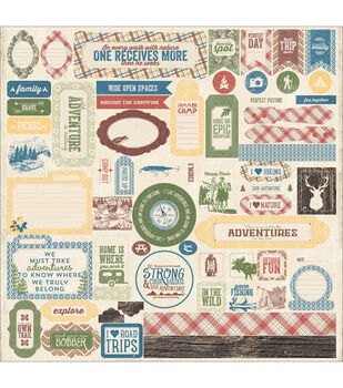 """Adventure Cardstock Stickers 12""""X12""""-Details Pennants, Quotes & Phrases"""