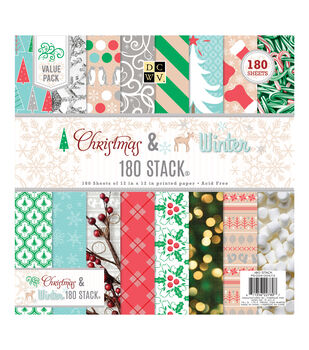 "DCWV 12""x12"" Christmas & Winter 180 Printed Stack"