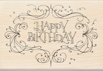 "Inkadinkado Mounted Rubber Stamp 4""X2.75""-Happy Birthday Flourish Frame"