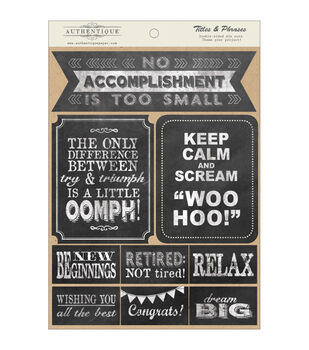 """Accomplished Double-Sided Cardstock Die-Cut Accents 6""""X8""""-Titles & Phrases"""