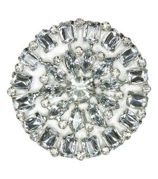 Laliberi Rhinestone Pin - Crystal Round in Silver