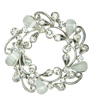 Laliberi Rhinestone Pin - White Wreath in Silver