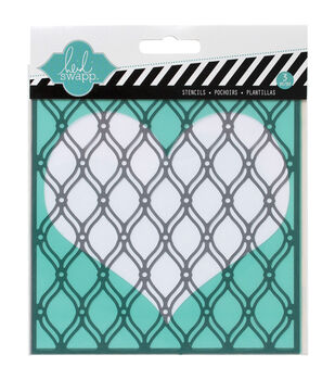 Heidi Swapp Mixed Media Stencils 3/Pkg-Heart, Cut Out Heart & Fence