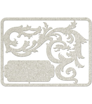 Fabscraps Filigree With Tag Die-Cut Gray Chipboard Embellishments