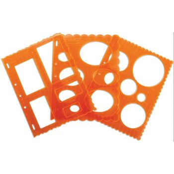 "Shape Template Set 8.5""X11"" 3/Pkg-Circles, Ovals&Rectangles"
