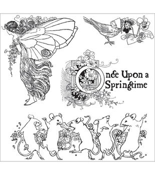 "Graphic 45 Once Upon A Springtime Cling Stamp 4.5""X4.5""-1"
