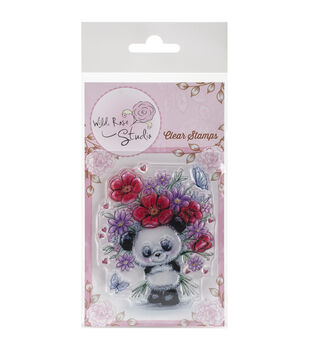 Wild Rose Studio Panda With Flowers Clear Stamp