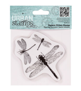 "Papermania Cling Urban Stamp 4""X4""-Dragonflies"