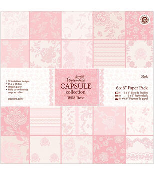 "Papermania Paper Pack 6""X6"" 32/Pkg-Wild Rose"