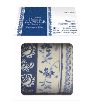 papermania Parisienne Blue Fabric Tape-3 Styles/1m Each