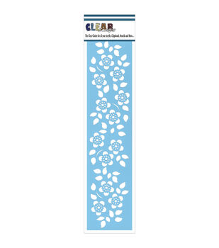 "Clear Scraps Border Stencils 3""X12""-Floral 2"