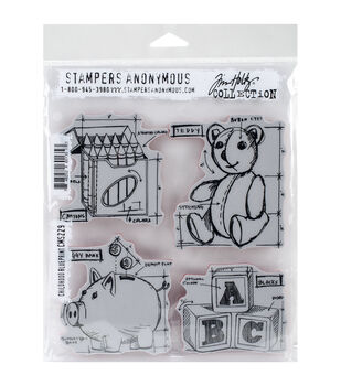 Stampers Anonymous Tim Holtz Childhood Blueprint Cling Rubber Stamp Set