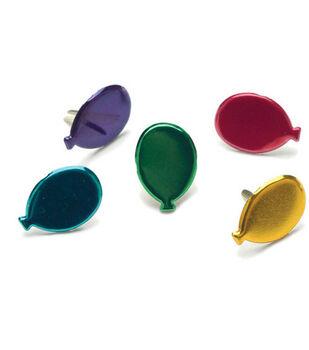 Painted Metal Balloon Paper Fasteners-50PK/Metallic