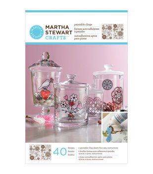 Martha Stewart Crafts Glass Paintable Cling Sheet Hearts And Flowers