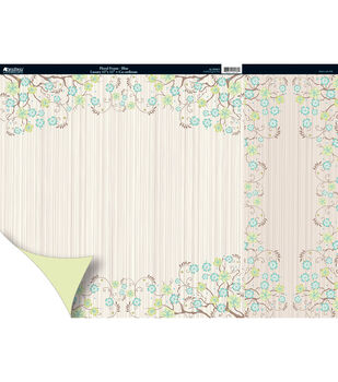 Kanban Free As A Bird 2Sided Cardstock 12X12-Floral Frame Blue