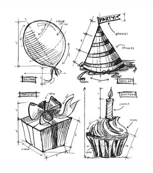 Tim Holtz Cling Rubber Stamp Set-Birthday Blueprint