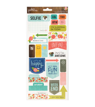 "Happy Day Cardstock Stickers 6""X12"" 2/Sheets-Phrases & Labels"