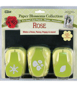 MCGills Paper Blossoms Punch Set With Molding Mat Rose