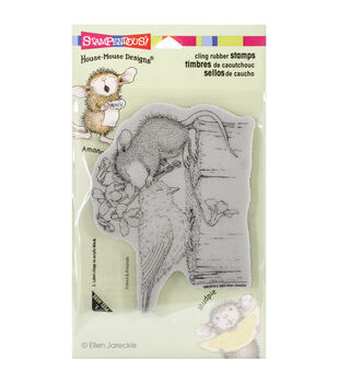 Stampendous House Mouse Birdie Kiss Cling Rubber Stamp