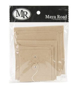 "Kraft Envelope With Flap & String 3""X3"" To 5""X5"" 10/Pkg-Square Deco Edge 5 Styles/2 Each"