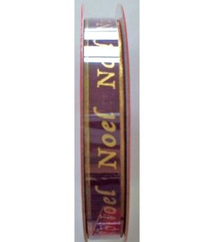 3/8In Dark Red Noel Ribbon