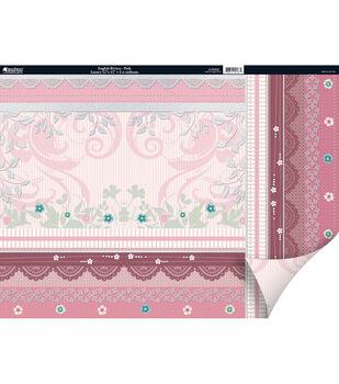 """Kanban Crafts English Riviera 2-Sided Cardstock 12""""X12""""-Pink"""