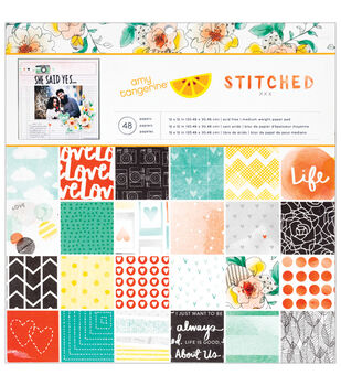 American Crafts Amy Tangerine Stitched Paper Pad 12''x12''