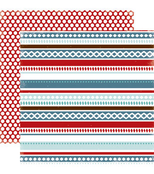"""All Bundled Up Double-Sided Cardstock 12""""X12""""-Winter Stripe"""