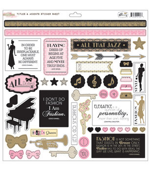 Glitz Design All Dolled Up Titles & Accents Cardstock Stickers
