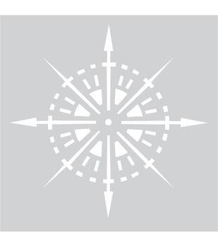 """Plastic Stencil 8""""X8""""-Compass"""