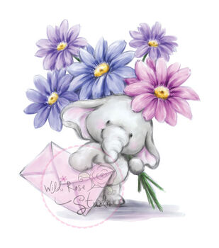 "Wild Rose Studio Ltd. Clear Stamp 3.5""X3"" Sheet-Bella W/Flowers"