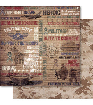 Ruby Rock-It Military Snippets Double-Sided Cardstock