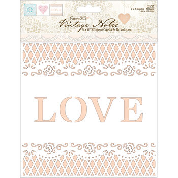 Papermania Vintage Notes Filigree Lace Fabric Paper 12''x12''