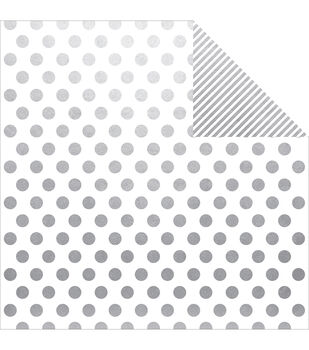 "The Story Of Us Double-Sided Cardstock 12""X12""-Silver Dot/Stripe Simple Basic"