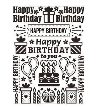 Darice Birthday Collage Embossing Folder
