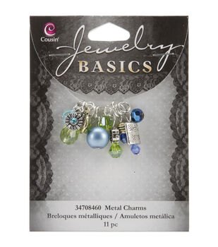 Jewelry Basics Metal Charms-Aqua Glass/Metal Bead Cluster 11/Pkg