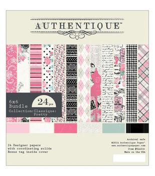 """Authentique Bundle Cardstock Pad 6""""X6"""" 24/Pkg-Classique Pretty"""