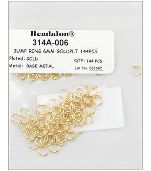 Beadalon Jump Rings 6mm 144PK-Gold