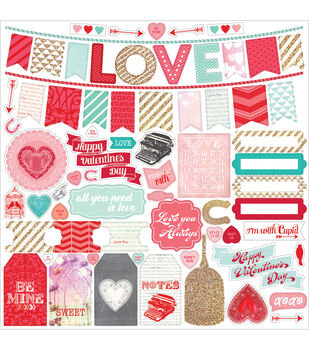 "Lucky In Love Cardstock Stickers 12""X12""-Element"