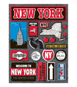 Reminisce Dimensional Stickers-New York