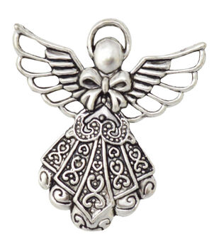 Silver embellishments 15/Pkg-Fleur Angel