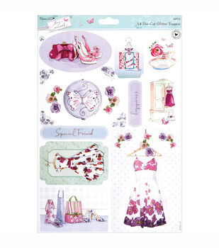 Papermania Die-Cut Toppers A4 Sheet Dresses With Glitter Accents