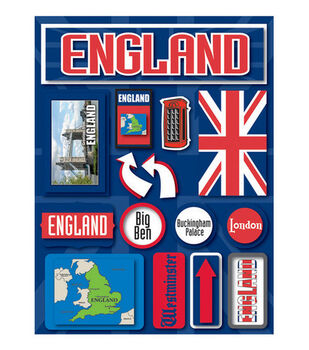 Reminisce Dimensional Stickers-England
